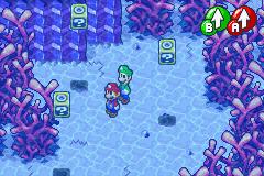 Hidden? Block location in Gwarhar Lagoon, in Mario & Luigi: Superstar Saga.