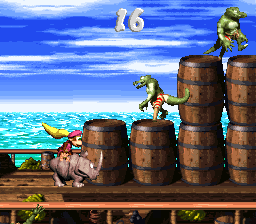 Dixie Kong and Rambi the Rhino in the second Bonus Area of Pirate Panic in Donkey Kong Country 2: Diddy's Kong Quest.