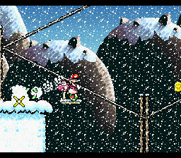 Pink Yoshi throwing an egg at a Dr. Freezegood in the level Ride The Ski Lifts.