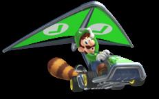 Luigi, with a Tanooki-tailed kart.