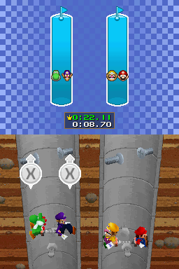 Gameplay of Sprinkler Scalers in Mario Party DS.