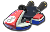 Mario, Baby Mario, and red Mii's Standard Kart body from Mario Kart 8