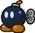 Sprite of a Bob-omb in Paper Mario: The Thousand-Year Door.