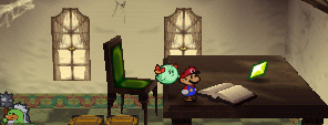 Mario finding a Star Piece on the small table in Tubba Blubba's Castle in Paper Mario