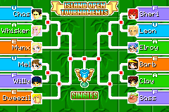 The Island Open Singles Bracket in Mario Tennis: Power Tour.
