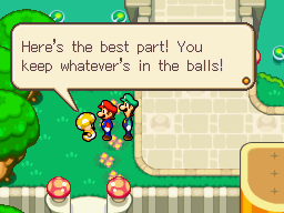 The PR Toad of Toad Town Mall introducing Mushroom Ball Derby to Mario and Luigi