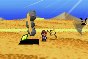 Mario finding a Star Piece under a hidden panel near the stone cactus in Dry Dry Desert in Paper Mario