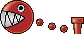 Sprite of a Red Chomp from Super Paper Mario.