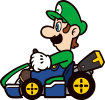 A stamp of Luigi in Mario Kart 8 Deluxe.