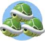 Mario Kart: Super Circuit promotional artwork: Triple Green Shell.