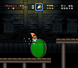 Mario using his Spin Jump on a Big Bubble in the level Vanilla Ghost House.