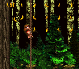 The second Bonus Level in Forest Frenzy from Donkey Kong Country
