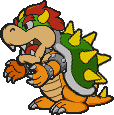 Assembled sprite of Bowser, from Paper Mario.