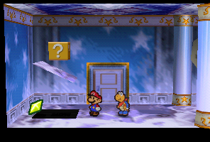 Mario finding a Star Piece in Crystal Palace in Paper Mario