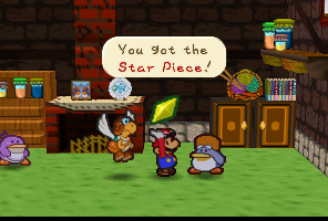 Mario getting a Star Piece from Mayor Penguin in Paper Mario