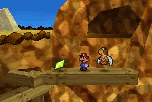 Mario finding a Star Piece on a wooden platform on Mt. Rugged in Paper Mario