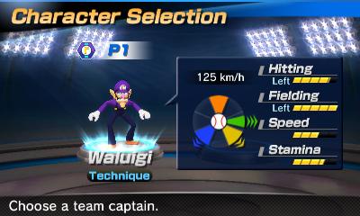 Waluigi's stats in the baseball portion of Mario Sports Superstars