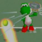 Yoshi charging a left-handed overhead shot in Mario Tennis.