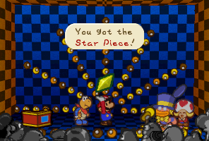 Mario getting a Star Piece from Chuck Quizmo in Paper Mario