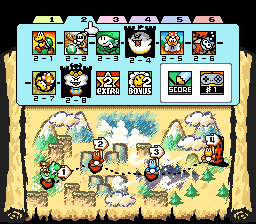 The map of World 2 from the game Super Mario World 2: Yoshi's Island.