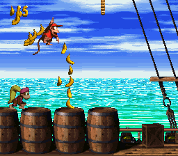 Diddy Kong collecting Bananas in Pirate Panic.
