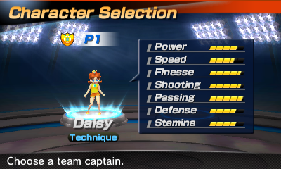 Princess Daisy's stats in the soccer portion of Mario Sports Superstars