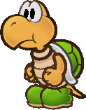 Sprite of a green Koopa Troopa (non-brainwashed) from Super Paper Mario.
