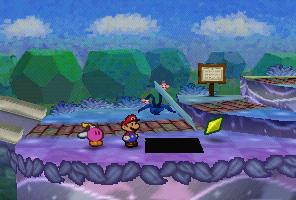 Mario finding a Star Piece under a hidden panel near the bridge in Shooting Star Summit in Paper Mario