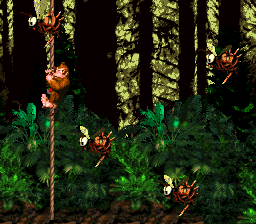 Donkey Kong in Forest Frenzy in Donkey Kong Country.