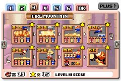 Fire Mountain level select in Mario vs. Donkey Kong