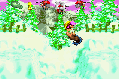 Dixie Kong and Kiddy Kong in the first Bonus Level of Tearaway Toboggan in the Game Boy Advance remake
