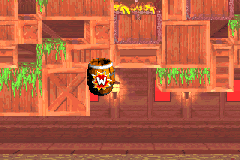 The location of the Warp Barrel in Lava Lagoon in the Game Boy Advance version