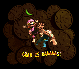 Grab the Bananas! Bonus Area title card in Donkey Kong Country 3: Dixie Kong's Double Trouble!