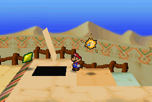 Mario finding a Star Piece under a hidden panel in Dry Dry Outpost in Paper Mario