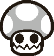 Sprite of a Ghoul Shroom from Super Paper Mario.