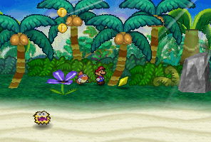 Mario finding a Star Piece in a tree at the beach of Lavalava Island in Paper Mario