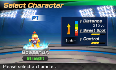 Bowser Jr.'s stats in the golf portion of Mario Sports Superstars