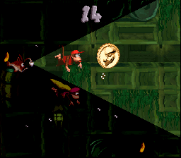 Diddy Kong and Dixie Kong reach the end of the second Bonus Level of Glimmer's Galleon