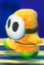 A yellow Shy Guy in Yoshi's Crafted World.