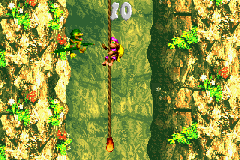 Dixie Kong climbing up a rope in the second Bonus Level of Kong-Fused Cliffs in the Game Boy Advance remake