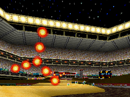 Screenshot of Mario Kart DS game featuring the Wario Stadium.