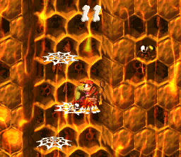 Diddy Kong, Dixie Kong and Squitter in the third Bonus Level in Hornet Hole in the SNES version