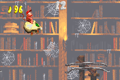 Diddy Kong in the third Bonus Area of Haunted Hall in the Game Boy Advance remake of Donkey Kong Country 2.