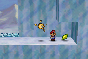 Mario finding a Star Piece in Shiver Mountain in Paper Mario