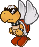 Sprite of a red Koopa Paratroopa from Super Paper Mario.