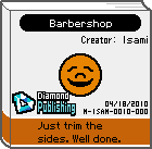 The shelf sprite of one of Jimmy T.'s favorite artist comics: Barbershop in the game WarioWare: D.I.Y..