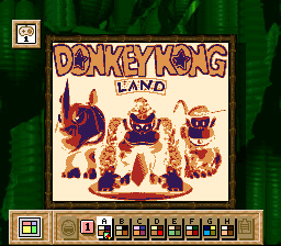 Donkey Kong Land's title screen on a Super Game Boy when the user overrides the palette.