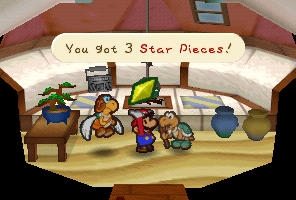Mario getting a Star Piece from Koopa Koot in Paper Mario