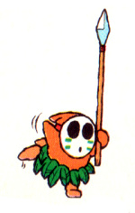 Official art of a Dancing Spear Guy for Super Mario World 2: Yoshi's Island