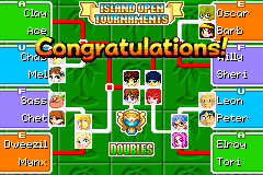 The Final Island Open Doubles Bracket in Mario Tennis: Power Tour.